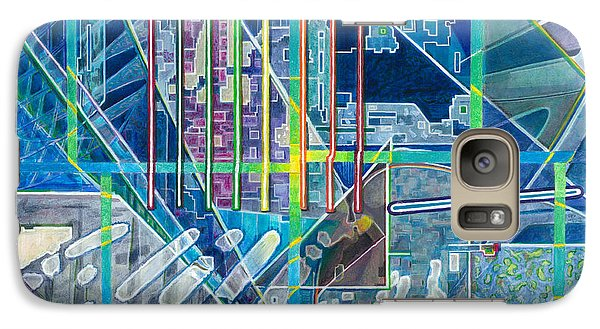 Galaxy Case featuring the painting Blue City Day by Jane Bucci