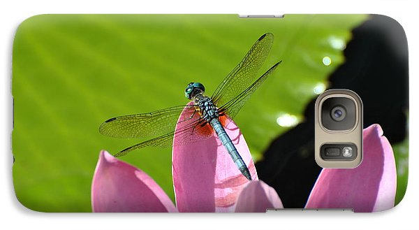 Galaxy Case featuring the photograph Blue Dragonfly On Pink Water Lilly by Jodi Terracina