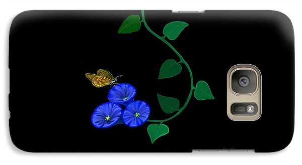 Galaxy Case featuring the painting Blue Flower Butterfly by Rand Herron