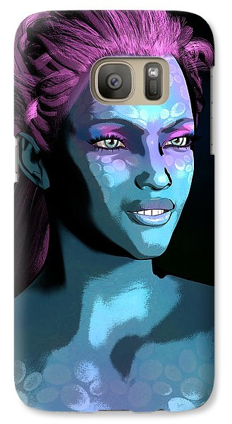 Galaxy Case featuring the digital art Blue Halo by Maynard Ellis