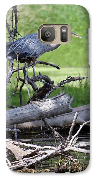Galaxy Case featuring the photograph Blue Heron At The Lake by Debbie Hart