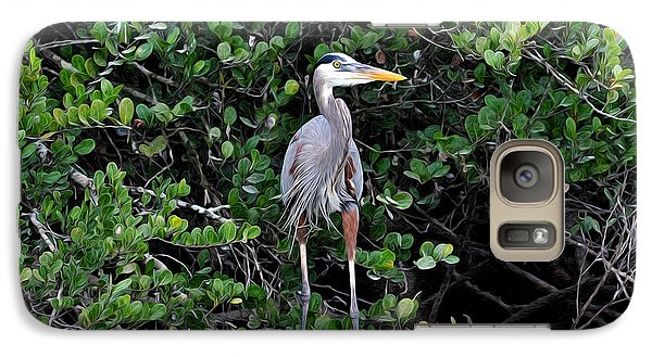 Galaxy Case featuring the photograph Blue Heron In Tree by Dan Friend