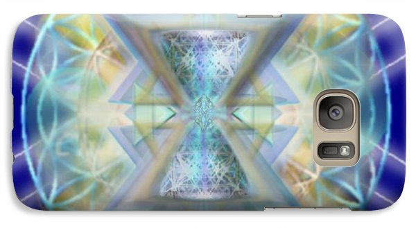 Galaxy Case featuring the digital art Blue High-starred Chalices On Flower Of Life by Christopher Pringer