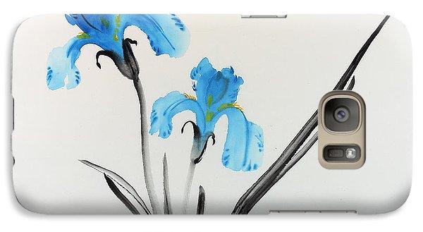 Galaxy Case featuring the painting Blue Iris I by Yolanda Koh