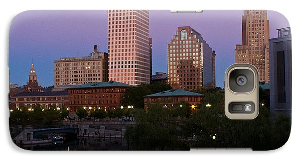 Galaxy Case featuring the photograph Blue Moon Over Downtown Providence 2 by Nancy De Flon