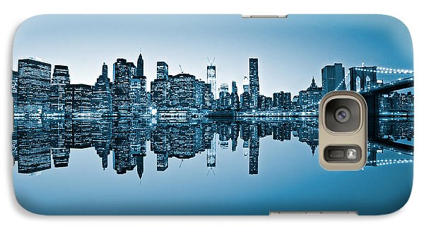 Galaxy Case featuring the photograph Blue New York City by Luciano Mortula