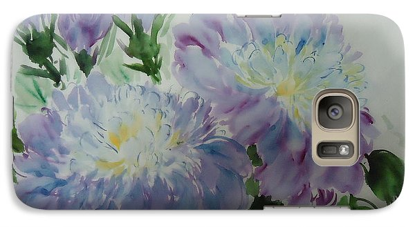 Galaxy Case featuring the painting Blue Purple Flower by Dongling Sun