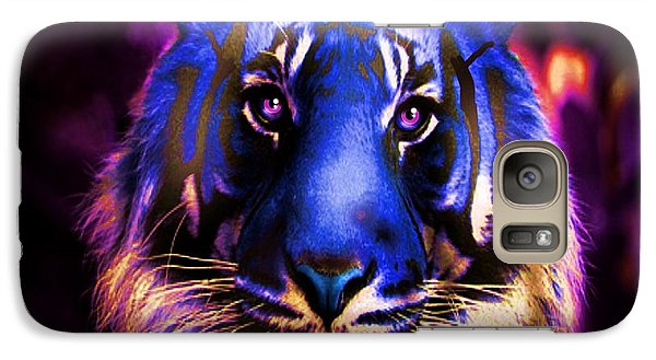 Galaxy Case featuring the photograph Blue Tiger Of The Purple Forest by George Pedro
