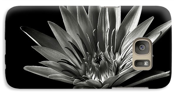 Galaxy Case featuring the photograph Blue Water Lily In Black And White by Endre Balogh