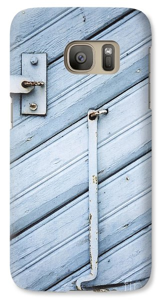 Galaxy Case featuring the photograph Blue Wooden Wall With Metal Hook by Agnieszka Kubica