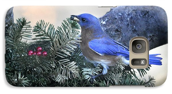 Galaxy Case featuring the photograph Bluebird Christmas Wreath by Nava Thompson