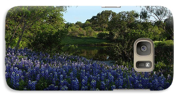 Galaxy Case featuring the photograph Bluebonnets At The Pond by Susan Rovira