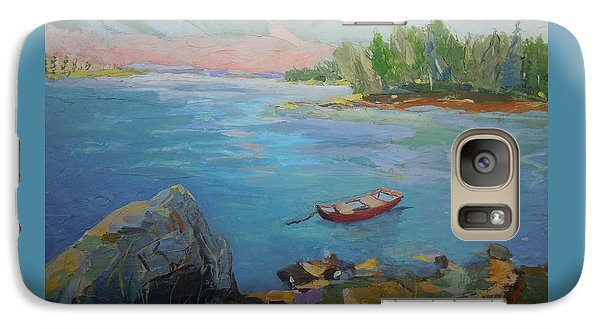 Galaxy Case featuring the painting Boat And Bay by Francine Frank