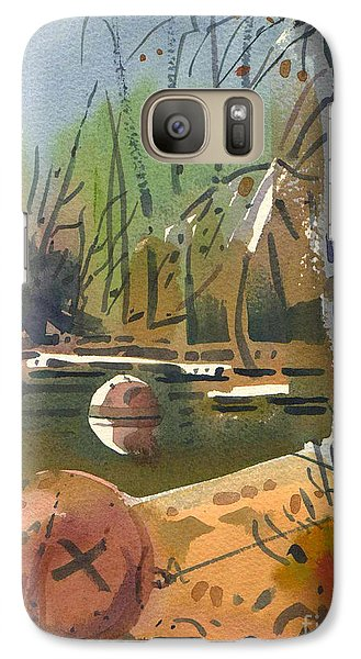 Galaxy Case featuring the painting Boat Moorings by Donald Maier