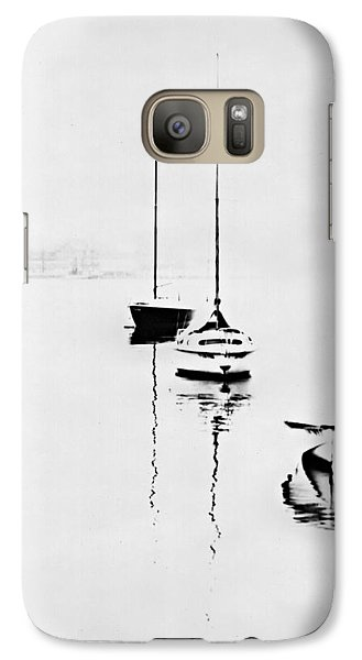 Galaxy Case featuring the photograph Boats On Foggy Lake Lucerne by Bob Wall