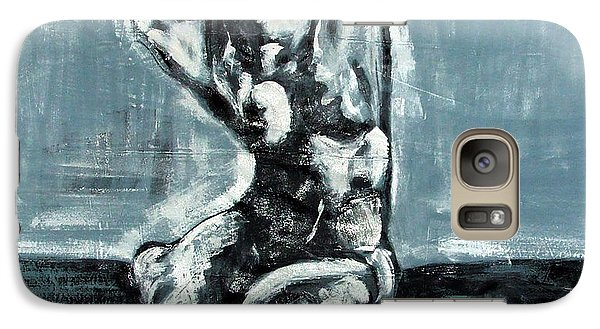 Galaxy Case featuring the painting Bold Expressionistic Figure Painting Of Nude Female Reaching Upward To The Sky With Her Arm In Bw by MendyZ M Zimmerman