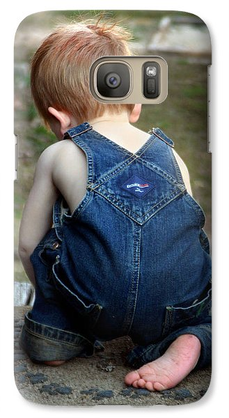 Galaxy Case featuring the photograph Boy In Overalls by Kelly Hazel