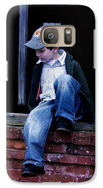 Galaxy Case featuring the photograph Boy In Window by Kelly Hazel