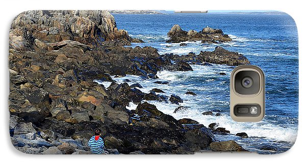 Galaxy Case featuring the photograph Boy On Shore Rocky Coast Of Maine by Maureen E Ritter