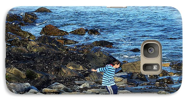 Galaxy Case featuring the photograph Boy Throwing A Stone Maine Coast by Maureen E Ritter