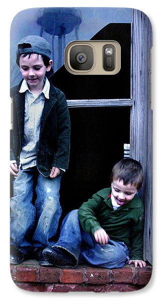 Galaxy Case featuring the photograph Boys In A Window by Kelly Hazel