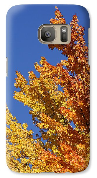 Galaxy Case featuring the photograph Brilliant Fall Color And Deep Blue Sky by Mick Anderson