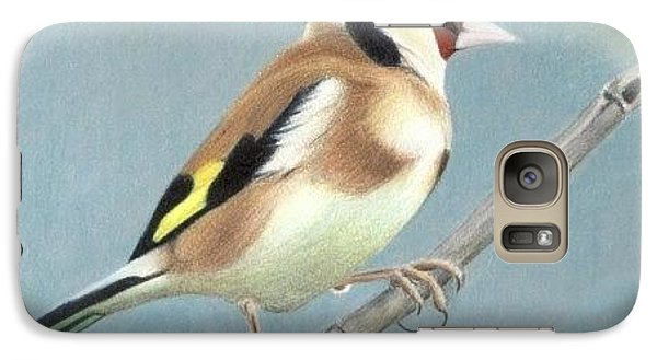 Galaxy Case featuring the drawing British Goldfinch by Ana Tirolese