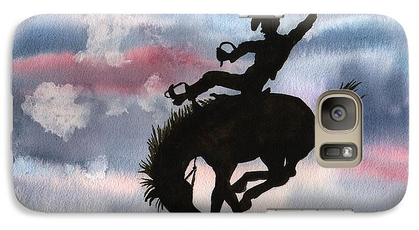 Galaxy Case featuring the painting Bronco Busting by Sharon Mick