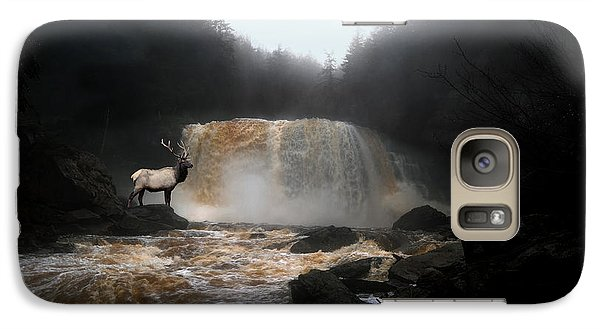 Galaxy Case featuring the photograph Bull Elk In Front Of Waterfall by Dan Friend