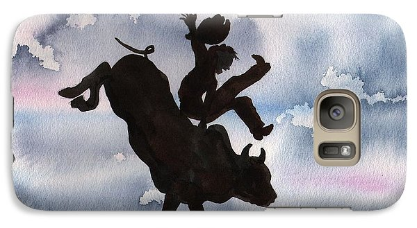 Galaxy Case featuring the painting Bull Riding by Sharon Mick