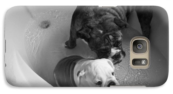 Galaxy Case featuring the photograph Bulldog Bath Time by Jeanette C Landstrom