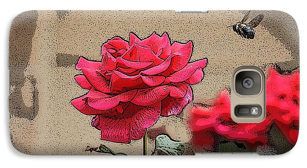 Galaxy Case featuring the photograph Bumble Bee And Rose by Donna  Smith
