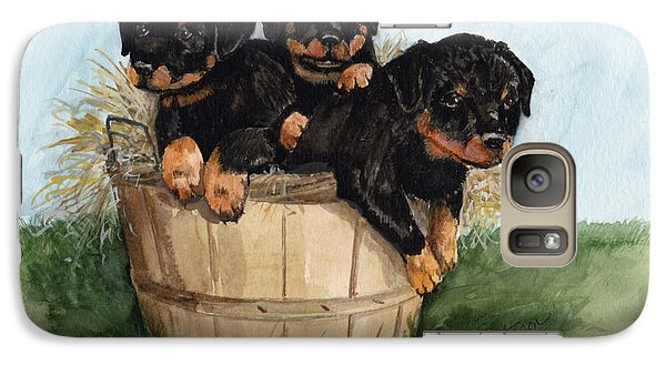 Galaxy Case featuring the painting Bushel Of Rotty Pups  by Nancy Patterson