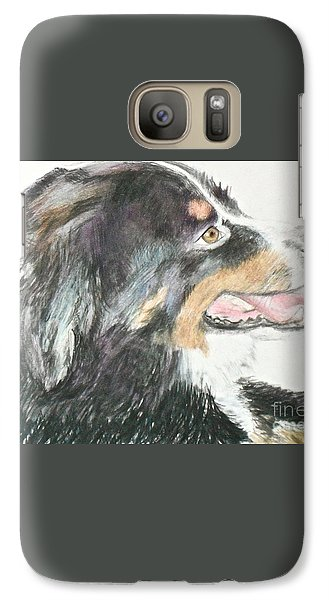 Galaxy Case featuring the drawing Buttercup The Wonderdog by Beth Saffer