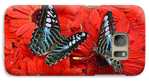 Galaxy Case featuring the photograph Butterflies On Red Flowers by Rima Biswas