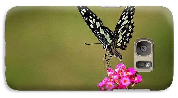 Galaxy Case featuring the digital art Butterfly On Pink Flower  by Ramabhadran Thirupattur