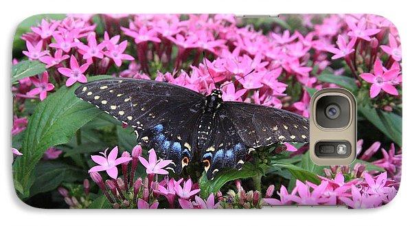 Galaxy Case featuring the photograph Butterfly Pinkflowers by Jerry Bunger