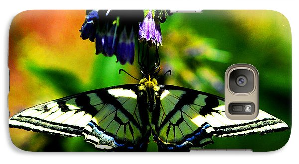 Galaxy Case featuring the photograph Butterfly Upside Down On Comfrey Flowers by Susanne Still