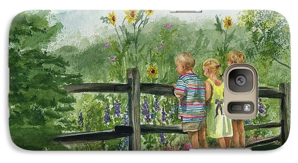 Galaxy Case featuring the painting By The Garden Fence  by Nancy Patterson
