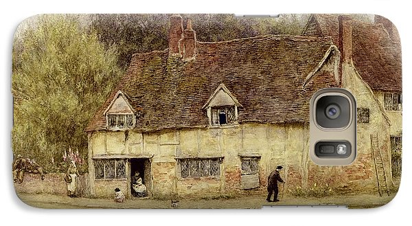 By The Old Cottage Galaxy Case by Helen Allingham