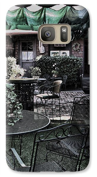 Galaxy Case featuring the photograph Cafe Courtyard by Joanne Coyle