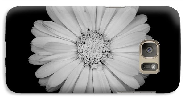 Galaxy Case featuring the photograph Calendula Flower - Black And White by Laura Melis