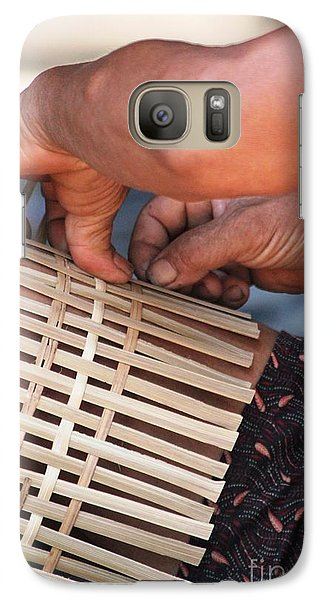 Galaxy Case featuring the photograph Cambodian Basket Weaver by Nola Lee Kelsey