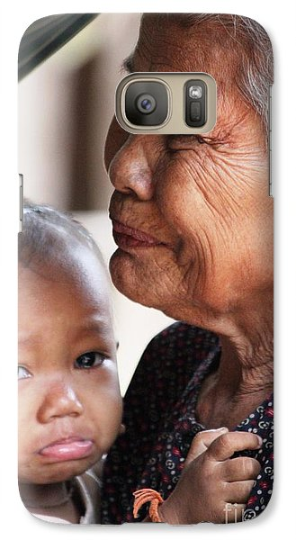 Galaxy Case featuring the photograph Cambodian Grandmother And Baby #1 by Nola Lee Kelsey