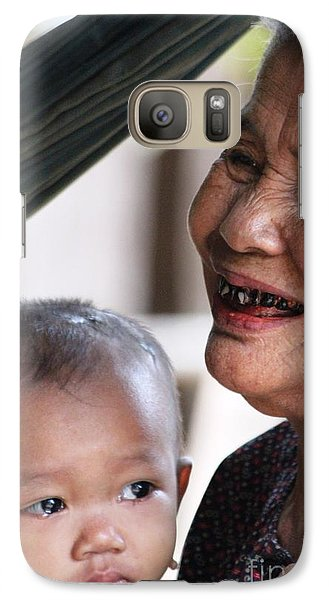 Galaxy Case featuring the photograph Cambodian Grandmother And Baby #2 by Nola Lee Kelsey