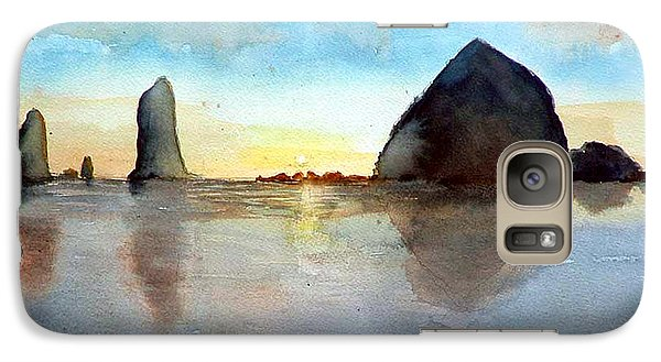 Galaxy Case featuring the painting Cannon Beach Sunset by Chriss Pagani