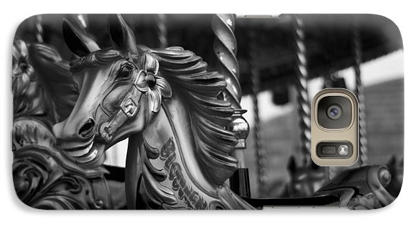 Galaxy Case featuring the photograph Carousel Horses Mono by Steve Purnell