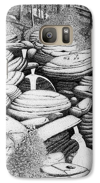 Galaxy Case featuring the drawing Cascade In Boulders by Daniel Reed