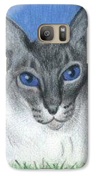Galaxy Case featuring the drawing Cat In Grass - Aceo by Ana Tirolese