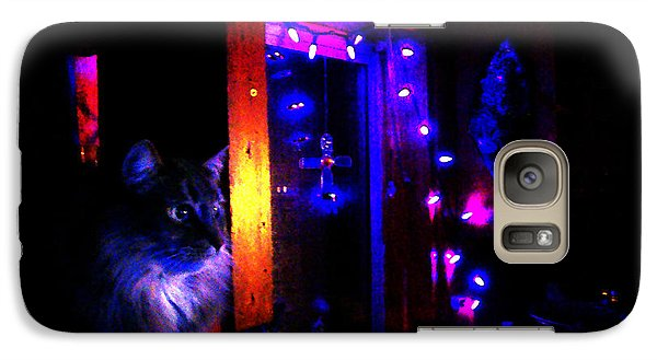 Galaxy Case featuring the photograph Cat In The Night Kitchen by Susanne Still